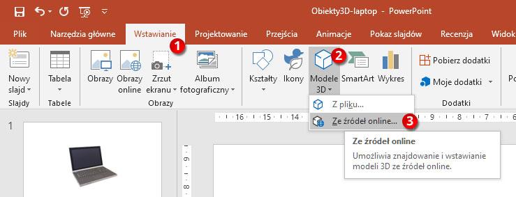 Wstawianie modelu 3D w PowerPoint