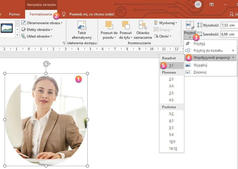PowerPoint - przycinanie zdjęcia do proporcji