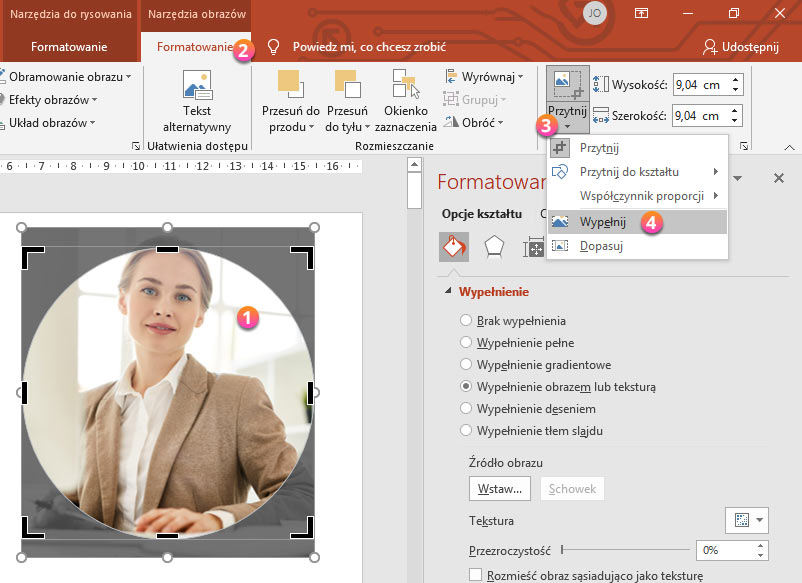 PowerPoint - wypełnienie kształtu zdjęciem