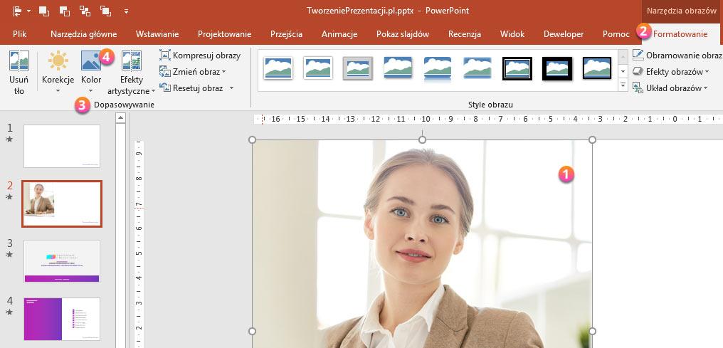 PowerPoint - korekcja zdjęć