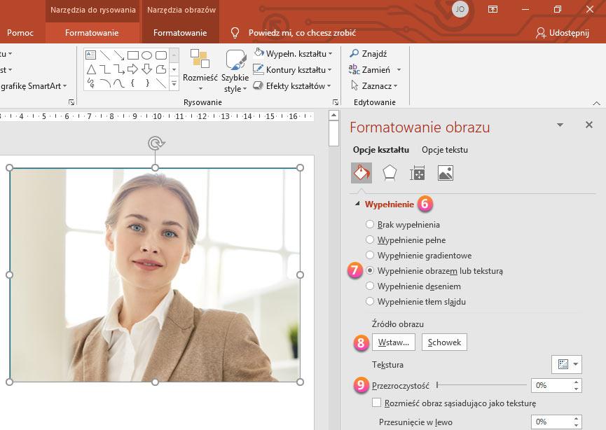 Przeźroczystość zdjęcia w PowerPoint