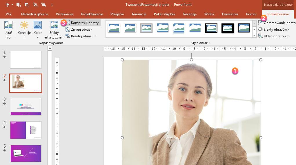 Kompresowanie zdjęć w PowerPoint